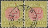 Australia Postage Due SG D91 ½d Carmine and Yellow Green pair (ADGU/382)